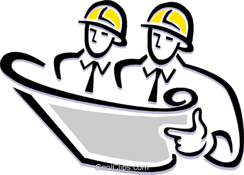 Contractors reading plans Royalty Free Vector Clip Art illustration peop1841