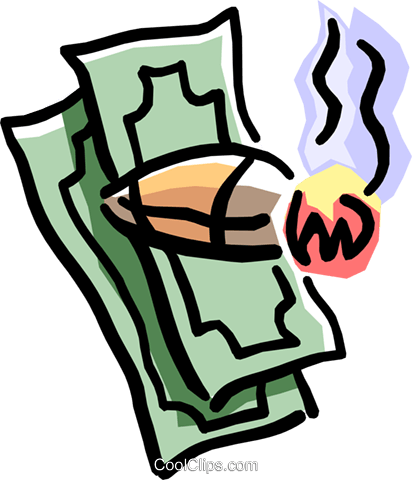 high-roller's cigar with a wad of cash Royalty Free Vector Clip Art illustration busi1280