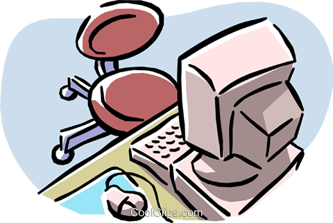 computer with office chair Royalty Free Vector Clip Art illustration busi1296