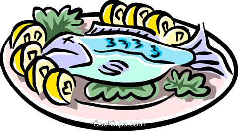 baked fish with lemons Royalty Free Vector Clip Art illustration food0766