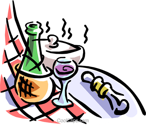 wine bottle and checkered table cloth Royalty Free Vector Clip Art illustration food0771