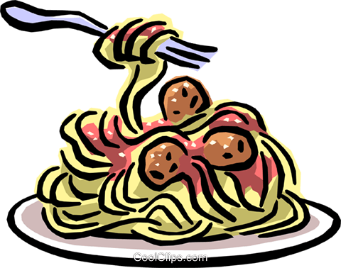 Spaghetti & meatballs Royalty Free Vector Clip Art illustration food0777