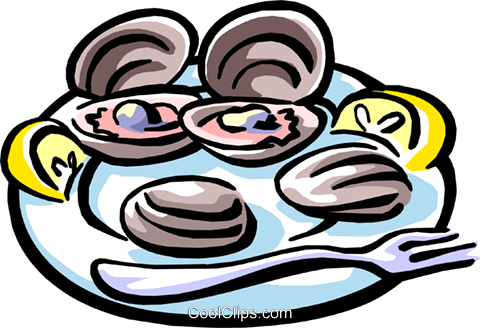 chilled oysters Royalty Free Vector Clip Art illustration food0782
