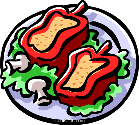 stuffed red peppers Royalty Free Vector Clip Art illustration food0787