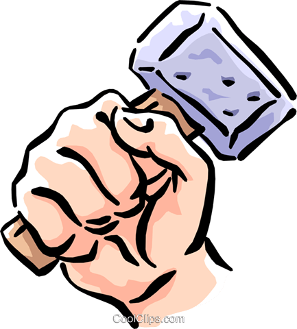 Hand with mallet Royalty Free Vector Clip Art illustration hand0271