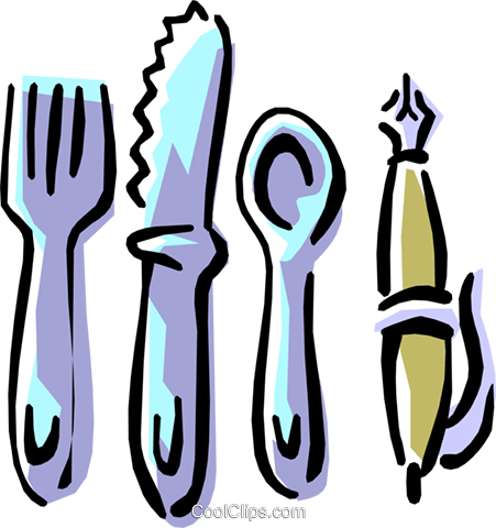 eating utensils with pen Royalty Free Vector Clip Art illustration hous1047