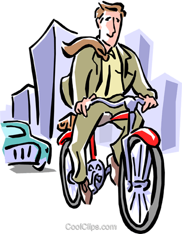 Businessman peddling to work Royalty Free Vector Clip Art illustration peop1900