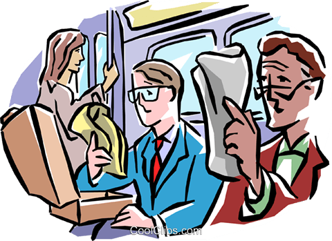 Subway passengers reading newspaper Royalty Free Vector Clip Art illustration peop1902