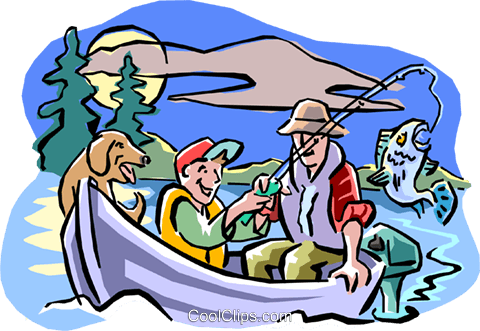 Father and son fishing with dog Royalty Free Vector Clip Art illustration peop1914