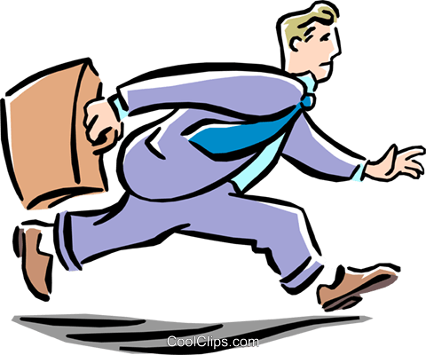 man running to work Royalty Free Vector Clip Art illustration peop1916
