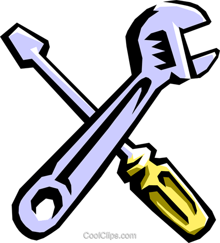 wrench and screwdriver Royalty Free Vector Clip Art illustration indu0769