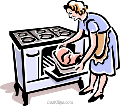 old-fashioned cooking turkey Royalty Free Vector Clip Art illustration peop1969