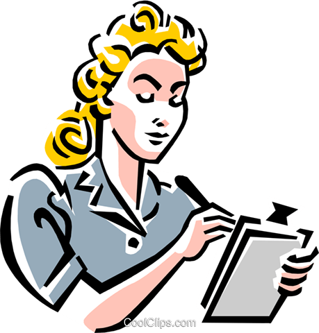 old-fashioned secretary Royalty Free Vector Clip Art illustration peop1970