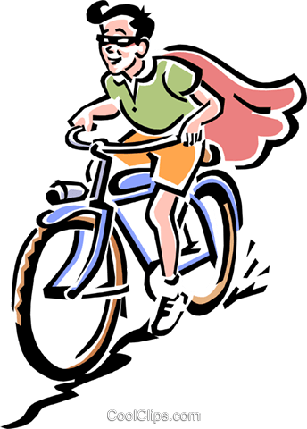 old-fashioned masked bike rider Royalty Free Vector Clip Art illustration peop1973