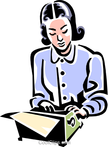 old-fashioned typist Royalty Free Vector Clip Art illustration peop1975