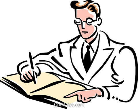 doctor filling out report Royalty Free Vector Clip Art illustration peop2057