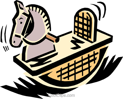 rocking horse Royalty Free Vector Clip Art illustration hous1110