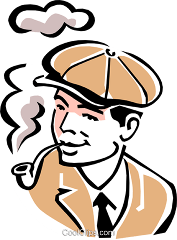 smoking a pipe Royalty Free Vector Clip Art illustration peop2075