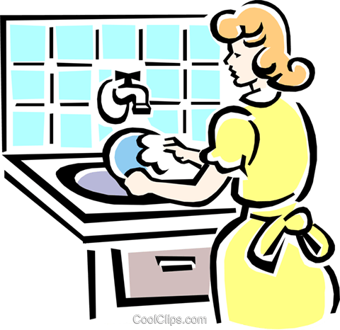 washing dishes Royalty Free Vector Clip Art illustration peop2082