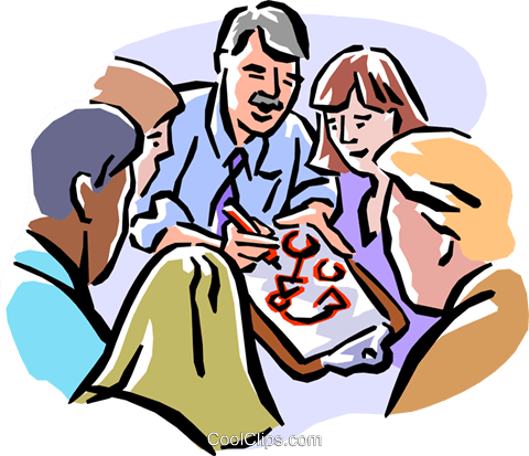 Group leader giving directions Royalty Free Vector Clip Art illustration peop2102