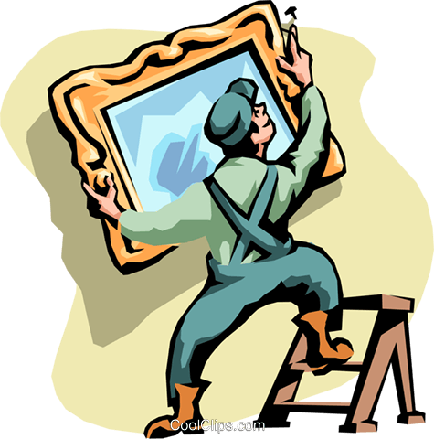 man hanging a mirror Royalty Free Vector Clip Art illustration peop2104