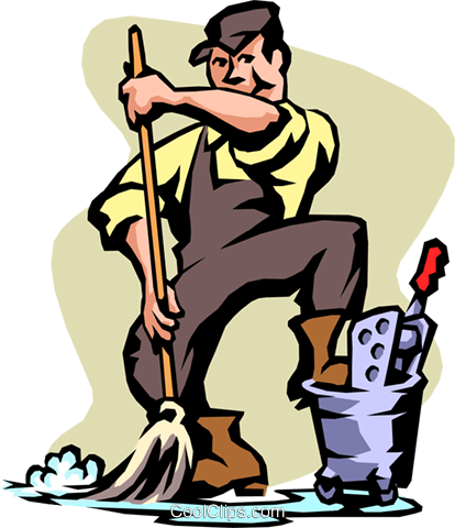 janitor Royalty Free Vector Clip Art illustration peop2110