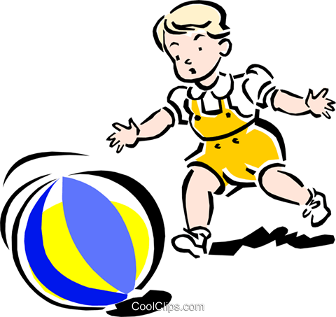 Child playing with ball Royalty Free Vector Clip Art illustration peop2121