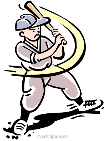 Baseball player at bat Royalty Free Vector Clip Art illustration peop2139