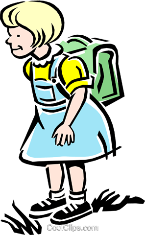 Child going to school Royalty Free Vector Clip Art illustration peop2141
