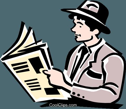 Man Reading Paper Royalty Free Vector Clip Art Illustration