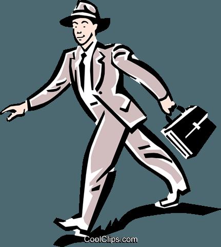 人走路上班 免版税矢量剪贴画插图