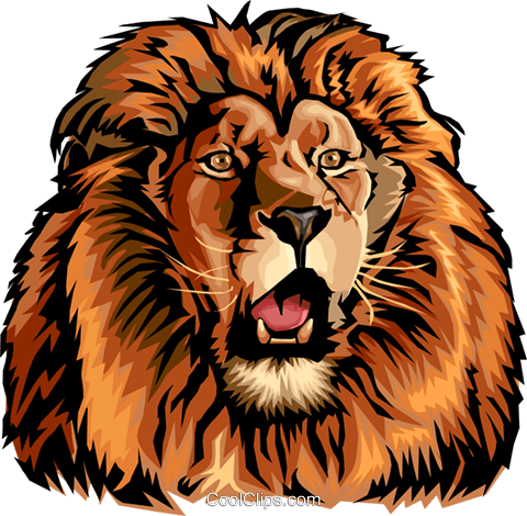 Roaring lion Royalty Free Vector Clip Art illustration anim1524