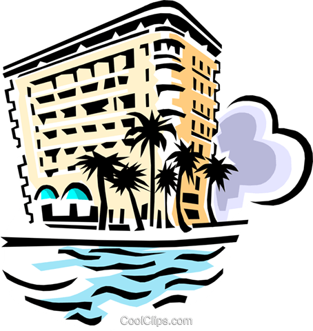 hotel on beach Royalty Free Vector Clip Art illustration arch0406