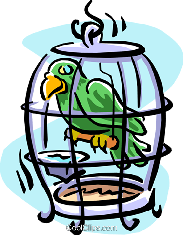 bird in a cage Royalty Free Vector Clip Art illustration cart1895