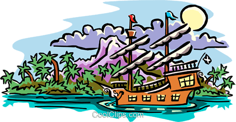 old world sailing ship Royalty Free Vector Clip Art illustration cart1896