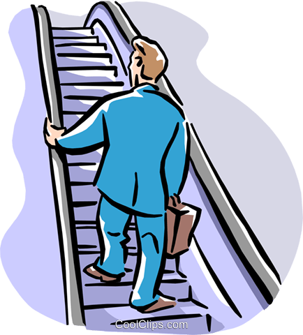 man going up escalator Royalty Free Vector Clip Art illustration peop2180
