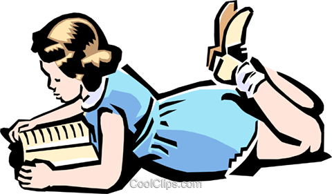 Child reading book Royalty Free Vector Clip Art illustration peop2195