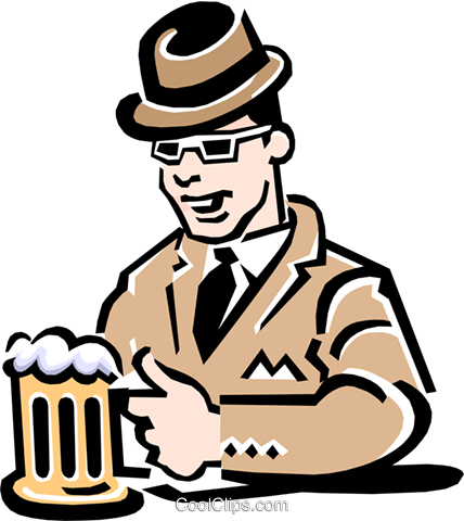 Man having a beer at the pub Royalty Free Vector Clip Art illustration peop2207