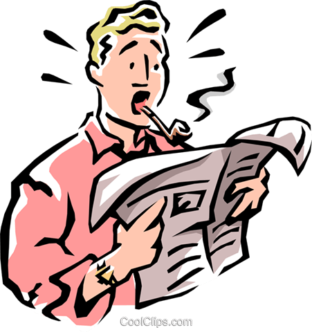 man reading newspaper Royalty Free Vector Clip Art illustration peop2211