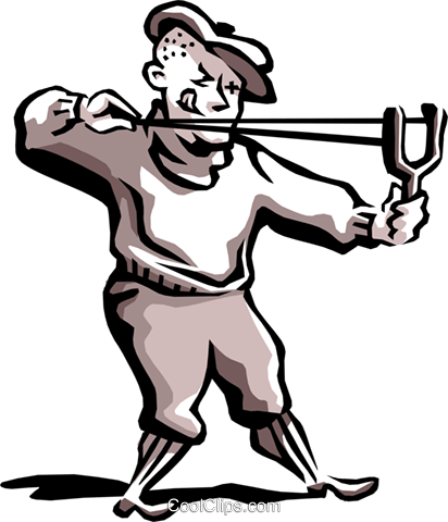 Man firing slingshot Royalty Free Vector Clip Art illustration peop2215