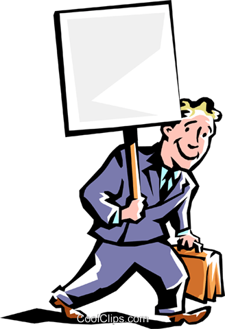 man carrying sign Royalty Free Vector Clip Art illustration peop2218