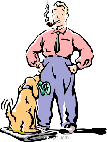man with dog Royalty Free Vector Clip Art illustration peop2225