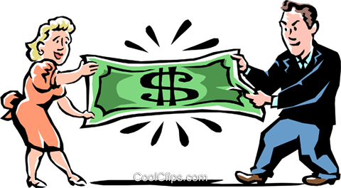 fighting over money Royalty Free Vector Clip Art illustration peop2226