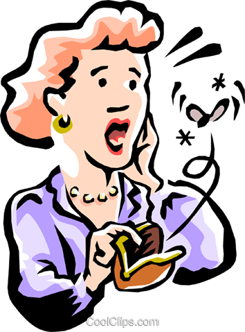 woman checking her makeup purse Royalty Free Vector Clip Art illustration peop2228