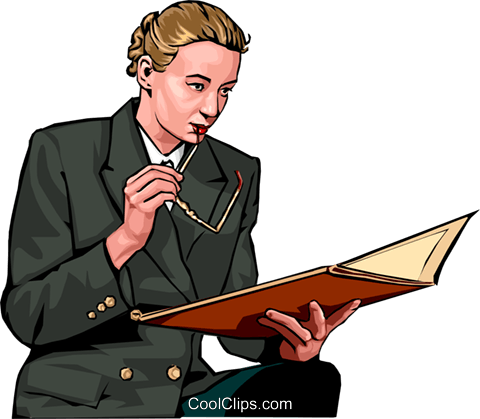 businesswoman reviewing  documents Royalty Free Vector Clip Art illustration peop2233