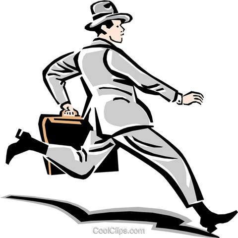 男人奔跑的工作 免版税矢量剪贴画插图