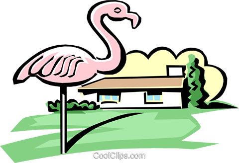 house with pink flamingo Royalty Free Vector Clip Art illustration arch0413
