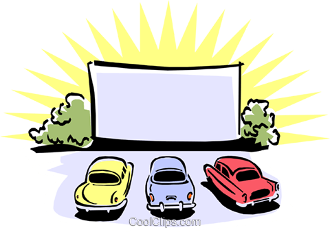 drive-in movie theatre Royalty Free Vector Clip Art illustration arts0470