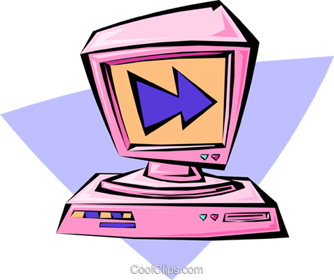 computer with monitor Royalty Free Vector Clip Art illustration busi1325