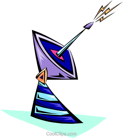 cartoon earth satellite dish Royalty Free Vector Clip Art illustration busi1345